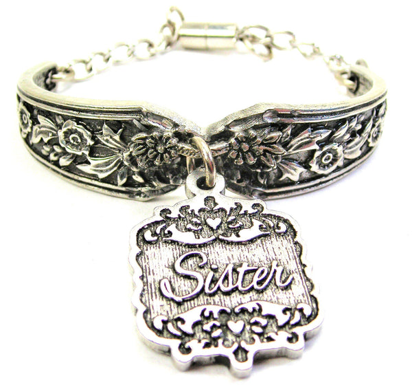 Sister Victorian Scroll Vintage Spoon Chain Bracelet