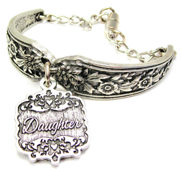 Daughter Victorian Scroll Vintage Spoon Chain Bracelet