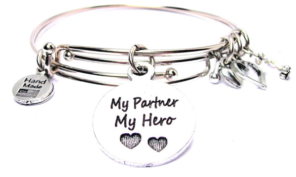 My Partner My Hero Expandable Bangle Bracelet Set