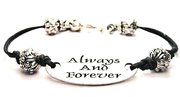 Always And Forever Plate Black Cord Bracelet
