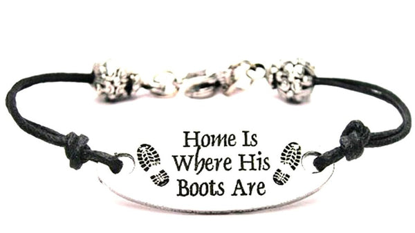 Home Is Where His Boots Are Plate Black Cord Bracelet