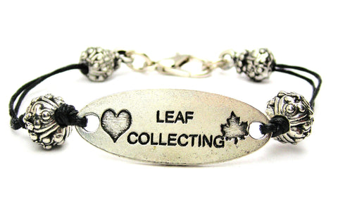 leaves, autumn, fall, fall jewelry, cord bracelet, charm bracelet,