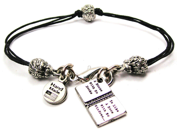 A House With No Books Is Like A Room With No Windows Beaded Black Cord Bracelet
