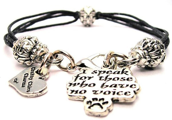 I Speak For Those Who Have No Voice Beaded Black Cord Bracelet