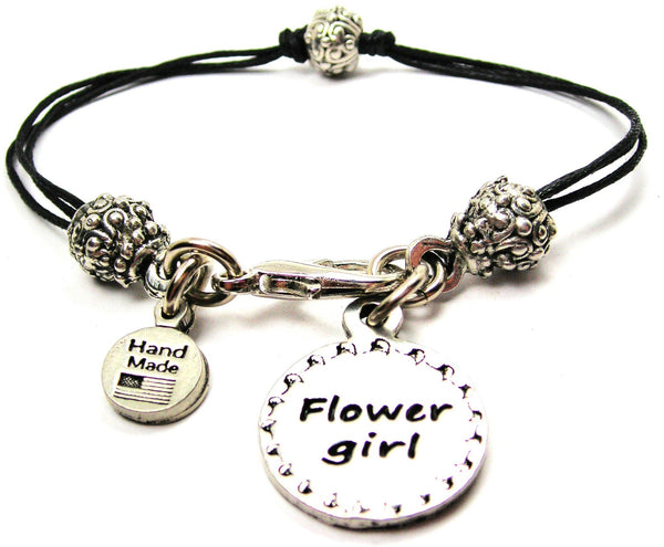 Flower Girl Circle Beaded Black Cord Bracelet