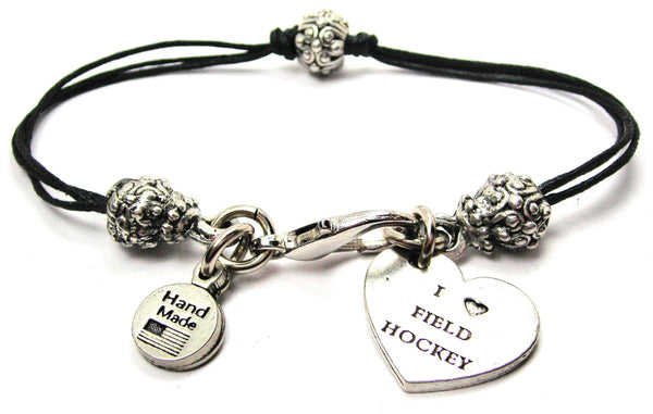 I Love Field Hockey Beaded Black Cord Bracelet