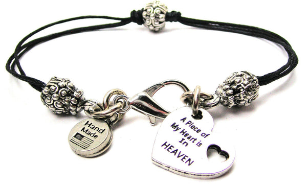A Piece Of My Heart Is In Heaven Beaded Black Cord Bracelet