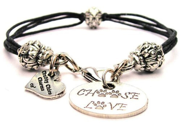 Choose Love With Paw Prints Beaded Black Cord Bracelet