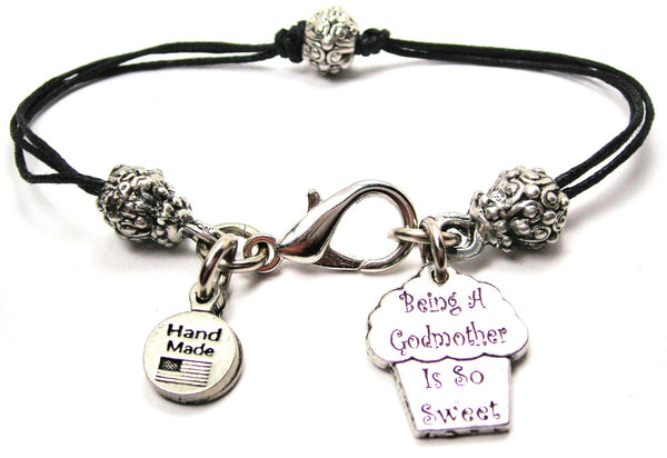 Being A Godmother Is So Sweet Beaded Black Cord Bracelet