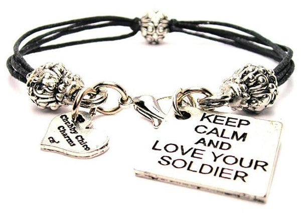 Keep Calm And Love Your Soldier Beaded Black Cord Bracelet