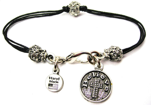 Believe With Textured Cross Beaded Black Cord Bracelet