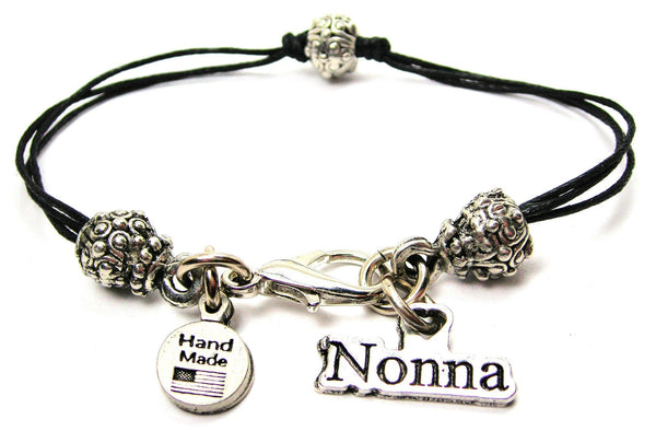Nonna Grandmother In Italian Beaded Black Cord Bracelet