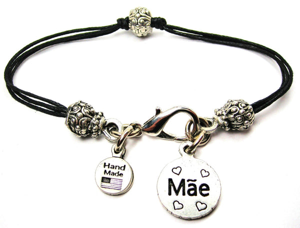 Mae Mother In Portuguese Beaded Black Cord Bracelet
