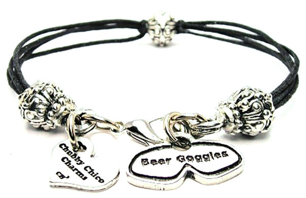 Beer Goggles Beaded Black Cord Bracelet