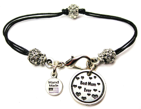 Best Mum Ever Beaded Black Cord Bracelet