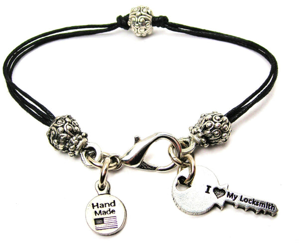 I Love My Locksmith Beaded Black Cord Bracelet
