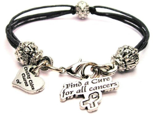 Find A Cure For All Cancers Beaded Black Cord Bracelet