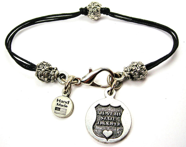 I Love My State Trooper Beaded Black Cord Bracelet