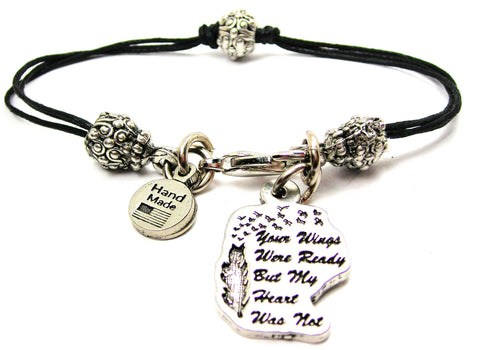 Your Wings Were Ready But My Heart Was Not Beaded Black Cord Bracelet