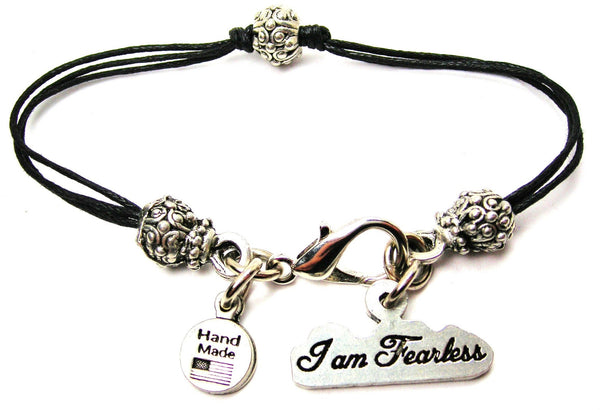 I Am Fearless Beaded Black Cord Bracelet
