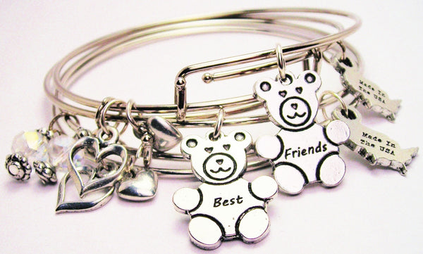 Best Friends Teddy Bears Expandable Bangle Bracelet Set
