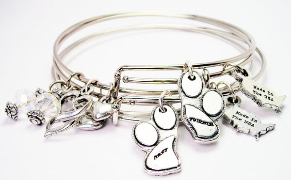 Best Friends Paw Prints Expandable Bangle Bracelet Set