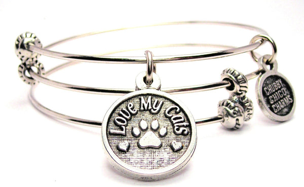 I Love My Cats Triple Style Expandable Bangle Bracelet
