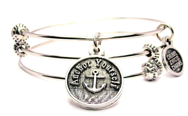 Anchor Yourself Triple Style Expandable Bangle Bracelet