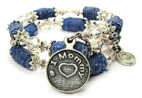 #1 Mommy Blue Jean Distressed Denim Bead Wrap Bracelet - Bracelets - Chubby Chico Charms