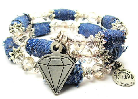 Diamond Denim Bead Wrap Bracelet