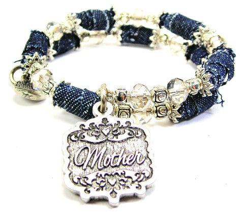 Mother Victorian Scroll Denim Bead Wrap Bracelet