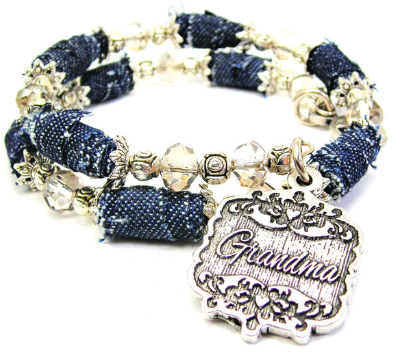 Grandma Victorian Scroll Denim Bead Wrap Bracelet