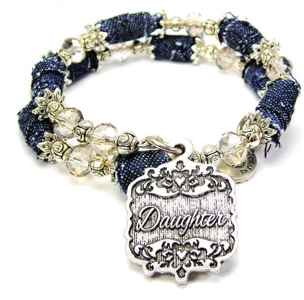Daughter Victorian Scroll Denim Bead Wrap Bracelet
