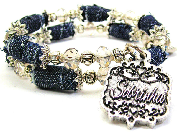 Sobrinha Victorian Scroll Denim Bead Wrap Bracelet