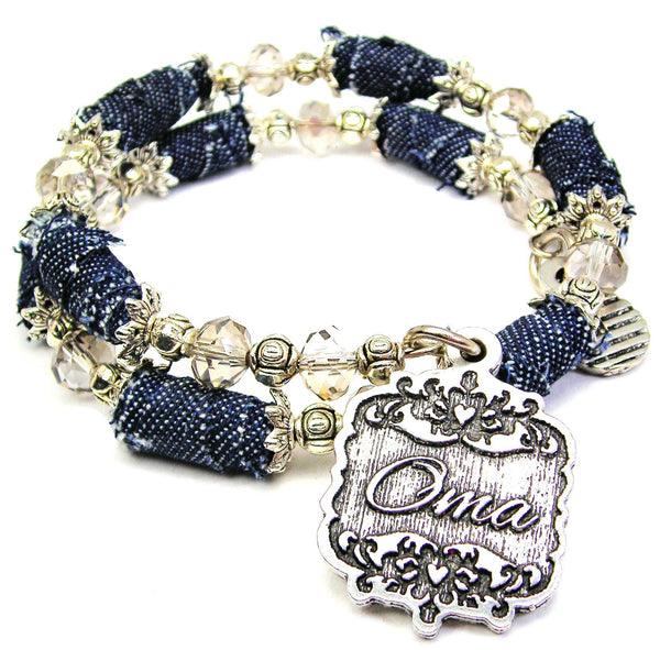 Oma Victorian Scroll Denim Bead Wrap Bracelet