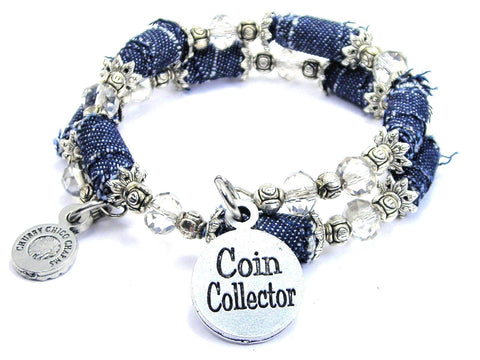 Coin Collector Blue Jean Distressed Denim Bead Wrap Bracelet