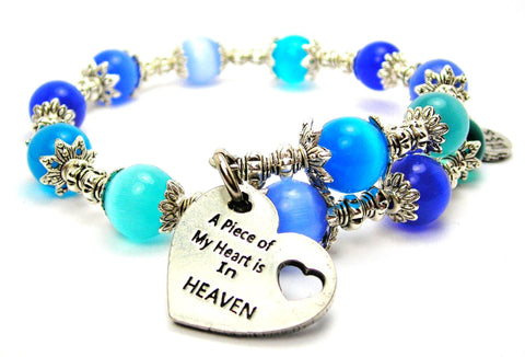 A Piece Of My Heart Is In Heaven Cats Eyes Glass Beaded Wrap Bracelet