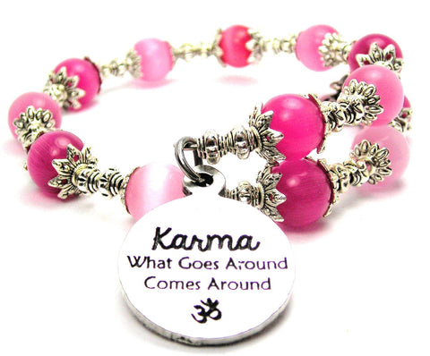 Karma What Goes Around Comes Around With Om Cats Eyes Glass Beaded Wrap Bracelet