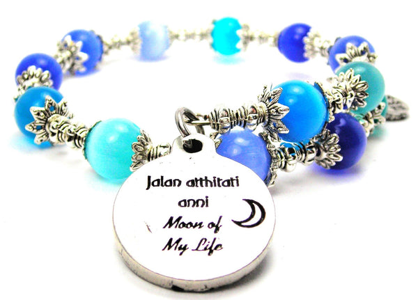Jalan Atthirari Anni Moon Of My Life Cats Eyes Glass Beaded Wrap Bracelet