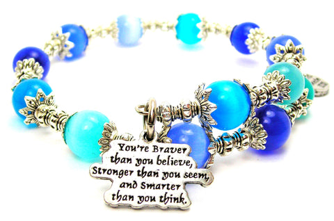You're Braver Than You Believe Stronger Than You Seem And Smarter Than You Think Cats Eyes Glass Beaded Wrap Bracelet