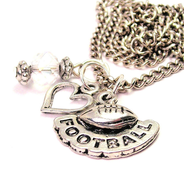 Football With Word Football Necklace with Small Heart