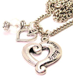 Love Heals Heart Necklace with Small Heart