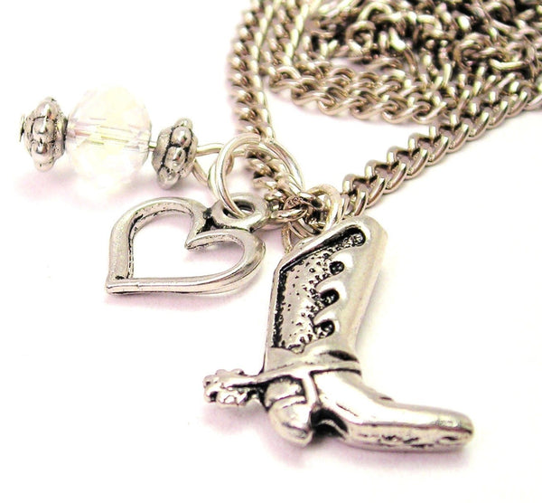 Cowboy Boot Style 2 Necklace with Small Heart