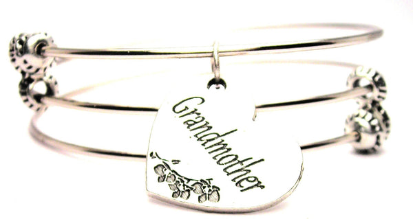 Grandmother Triple Style Expandable Bangle Bracelet