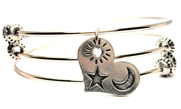 Heart With Sun Moon And Star Triple Style Expandable Bangle Bracelet