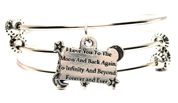 I Love You To The Moon And Back Again, To Infinity And Beyond Forever And Ever Triple Style Expandable Bangle Bracelet
