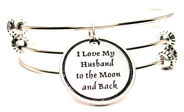 I Love My Husband To The Moon And Back Triple Style Expandable Bangle Bracelet