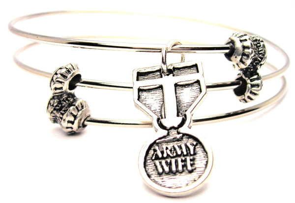 Army Wife Medal Triple Style Expandable Bangle Bracelet
