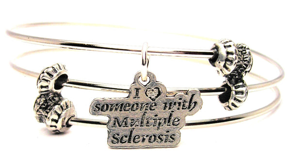 I Heart Someone With Multiple Sclerosis Triple Style Expandable Bangle Bracelet