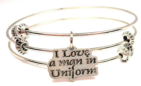 I Love A Man In Uniform Triple Style Expandable Bangle Bracelet
